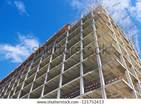 Concrete strengthening of highrise Construction Site - stock photo