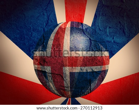concrete textured wall and sphere textured by iceland national flag - stock photo