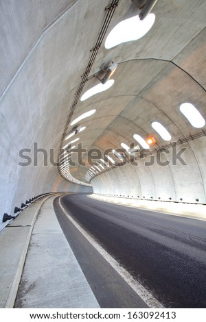 Concrete tunnel to protect from snow, Aomori, Japan - stock photo