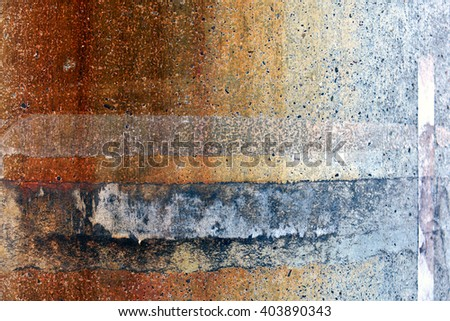 Concrete utility pole contaminated with rust - stock photo