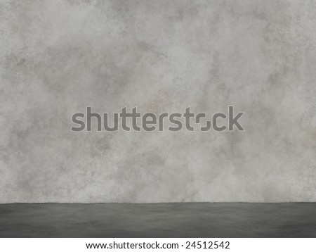 Concrete wall and ground plane - stock photo