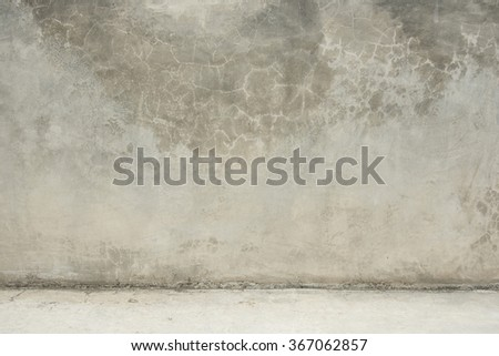 concrete wall and stone floor room as background - stock photo