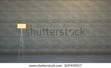 Concrete wall with a lamp. - stock photo