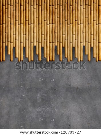 concrete wall with bamboo texture - stock photo