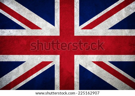 concrete wall with england flag - stock photo