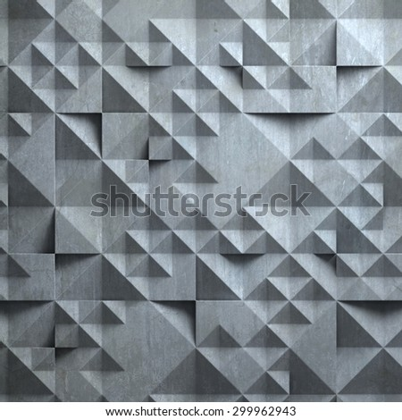 concrete wall with geometrical 3d pattern - stock photo