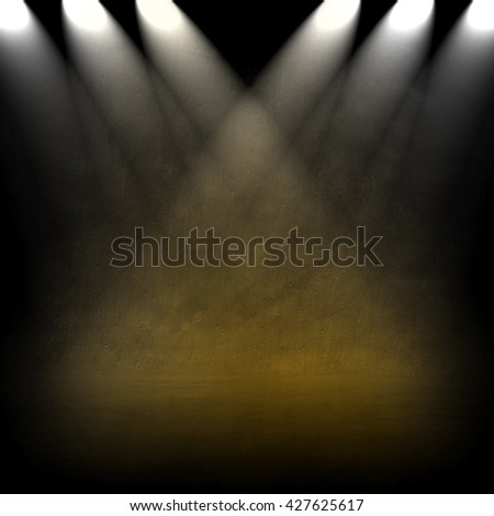 concrete wall with spotlight background - stock photo