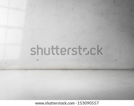 concrete wall with sun light - stock photo