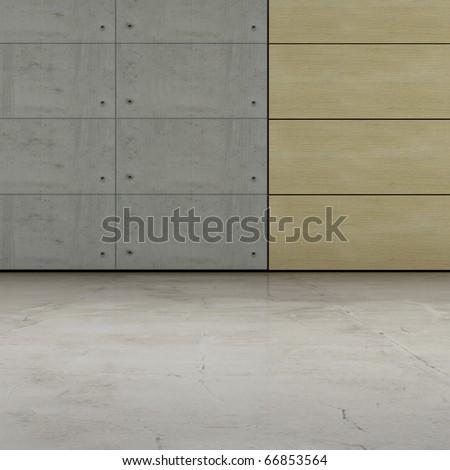 Concrete & wood - stock photo