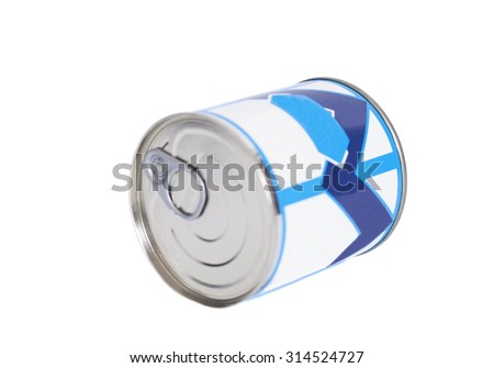 Condensed milk tin can isolated on white - stock photo