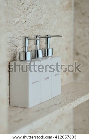 Conditioner & Shampoo sets in white bottle - stock photo
