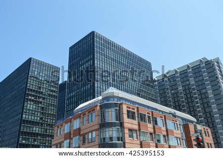 Condo buildings and business skyscrapers in Montreal - stock photo