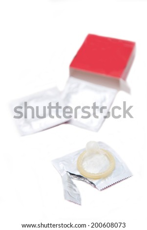 condom isolated on white, safe sex - stock photo