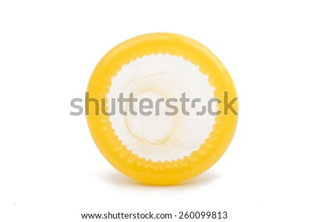condom on white background - stock photo