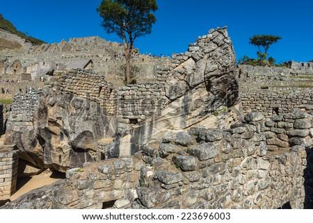 condor temple Machu Picchu, Incas ruins in the peruvian Andes at Cuzco Peru - stock photo