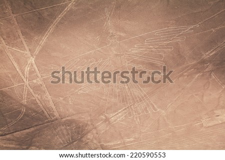 Condor, the Lines and Geoglyphs of Nazca desert, Peru - stock photo
