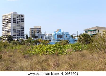 Condos and homes at Siesta Key Beach, Florida. - stock photo