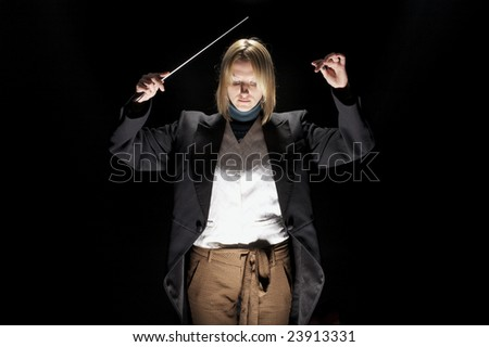 Conductor on black background - stock photo