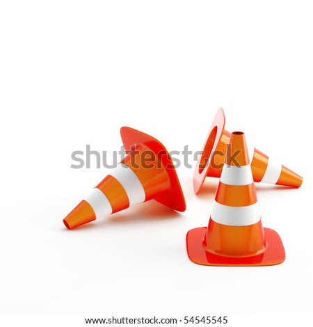 Cone pins of the red-white color used in construction on road - stock photo