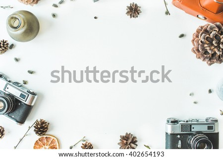 cones, vintage old-fashioned camera, candlesticks, branches of pussy willow, leaves and dry oranges isolated on white background. flat lay, overhead view, top view - stock photo