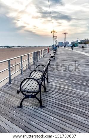 Coney Island boardwalk  - stock photo