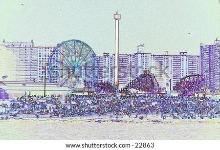 Coney Island sketch. - stock photo