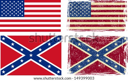 Confederate and American flags. Raster version - stock photo