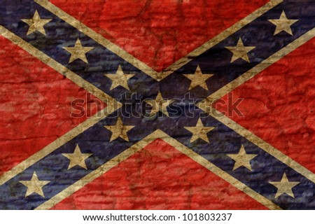 Confederate flag overlaid with grunge texture - stock photo