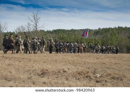 Confederate rebels form a battle line. - stock photo