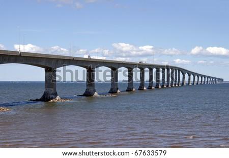 Confederation bridge: 8 mile long bridge to Prince Edward Island, Canada - stock photo