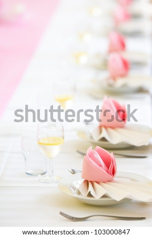 Conference or wedding dinner table ready for serving - stock photo