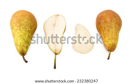 Conference pears - whole, halved and peeled, isolated on a white background - stock photo