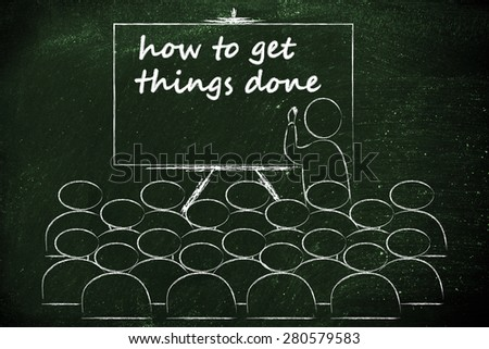 conference, presentation, or school class with lecturer depicting how to get things done - stock photo