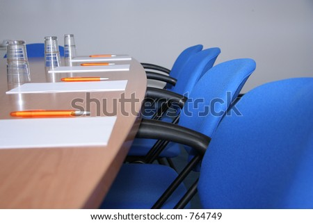 Conference room ready for a meeting - stock photo