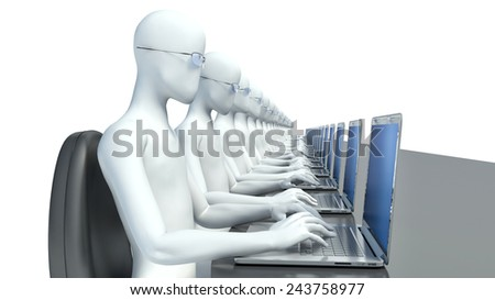 conference room with black table and 3d man - stock photo