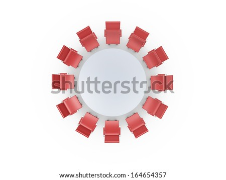 Conference round table and red office chairs in meeting room, isolated on white background. - stock photo