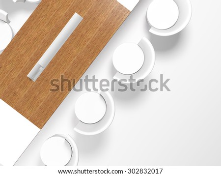 Conference table and office chairs in meeting room, top view, on white background, 3d render - stock photo