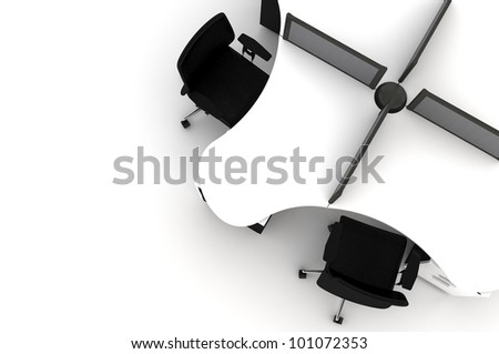 Conference Table-3d illustration - stock photo