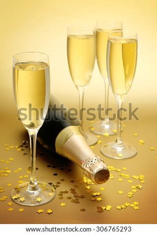 confetti and champagne - stock photo
