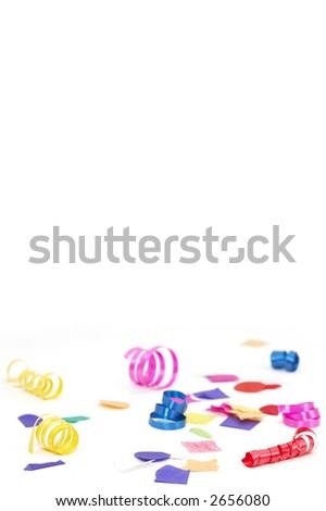 confetti and ribbon - stock photo