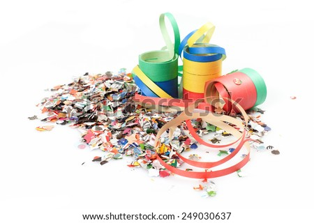 confetti and streamers on the white background - stock photo