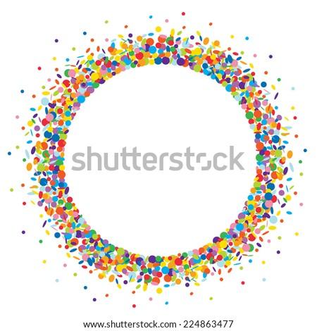 Confetti round frame - stock photo