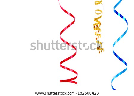 confetti serpentine ribbon border frame  isolated on white - stock photo