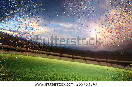 Confetti stadium - stock photo