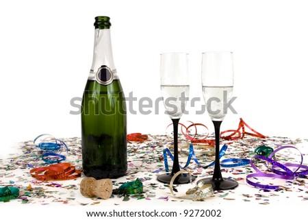 Confetti with champagne - stock photo