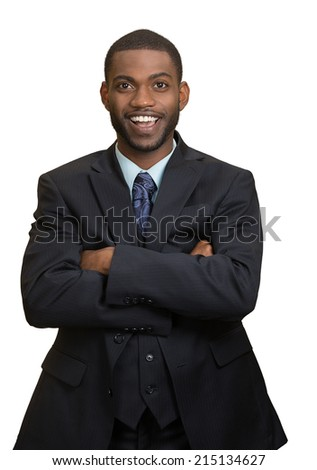 Confidence, charisma. Portrait Cheerful handsome young african american man in full suit keeping arms crossed looking at camera, isolated white background. Human face expression, emotion body language - stock photo
