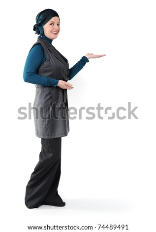 Confident and beautiful european  Muslim woman - stock photo