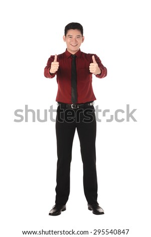 Confident asian business man isolated over white background - stock photo