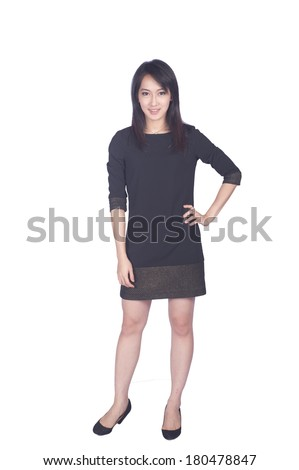Confident Asian business woman, closeup portrait on white background. - stock photo