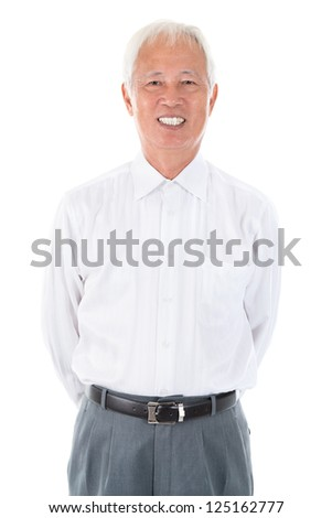 Confident Asian Chinese senior businessman standing isolated white background - stock photo